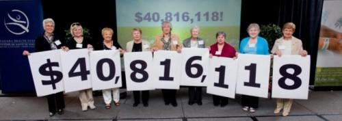 people holding a sign that says $40,816,118