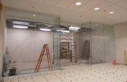 construction of area surrounded by glass walls