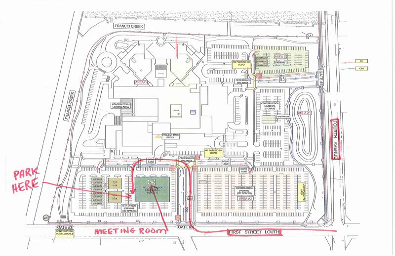 map of the new hospital groups with parking pointed out
